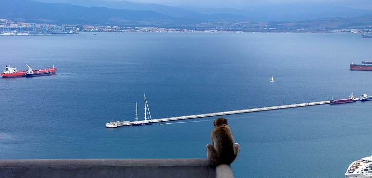 The famous rock of Gibraltar and Tarifa, a windy surf spot, are located at the southern tip of Europe.